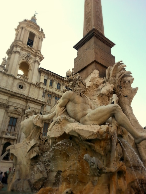 piazza navona, rome, italy, sculptures