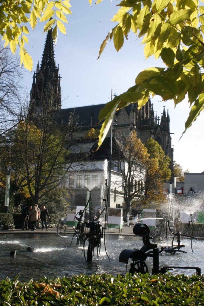 Tinguely Fountain and Muenster Cathedral