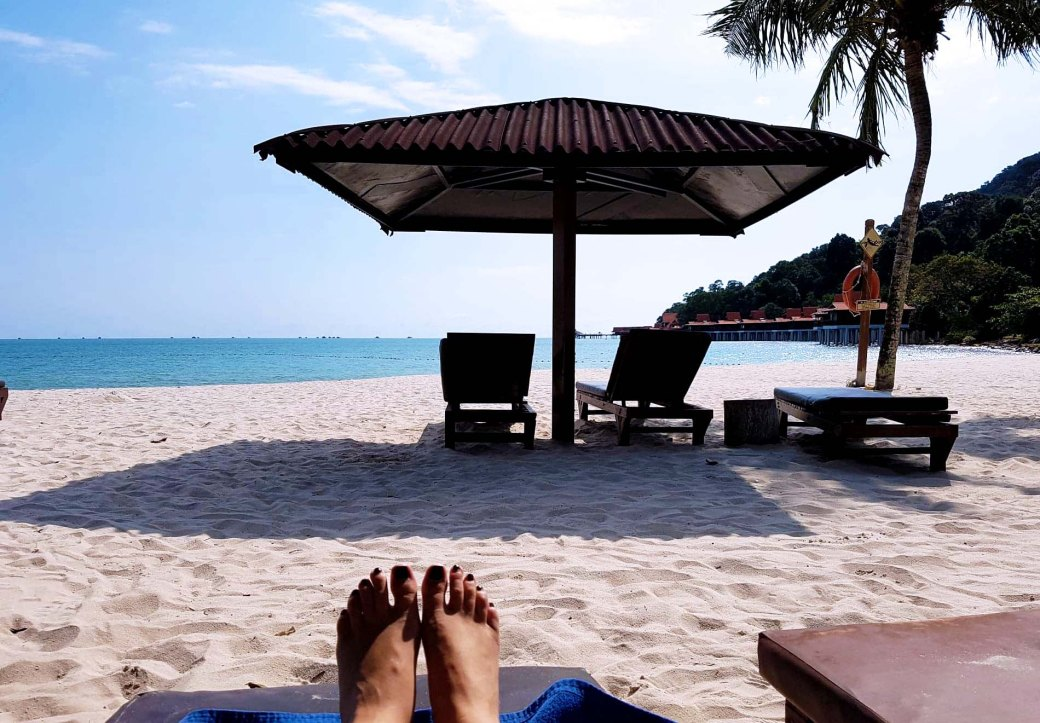 Relaxing on the beach in Langkawi, Malaysia